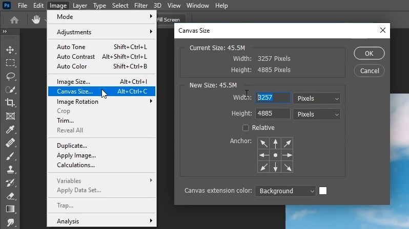 extend background in photoshop