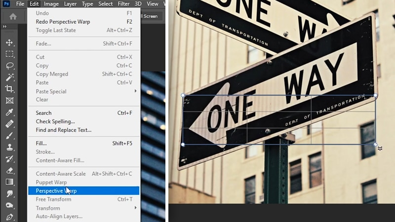 How to use perspective transform in Photoshop