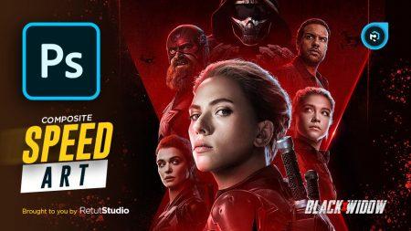 Black Widow Movie Poster in Photoshop